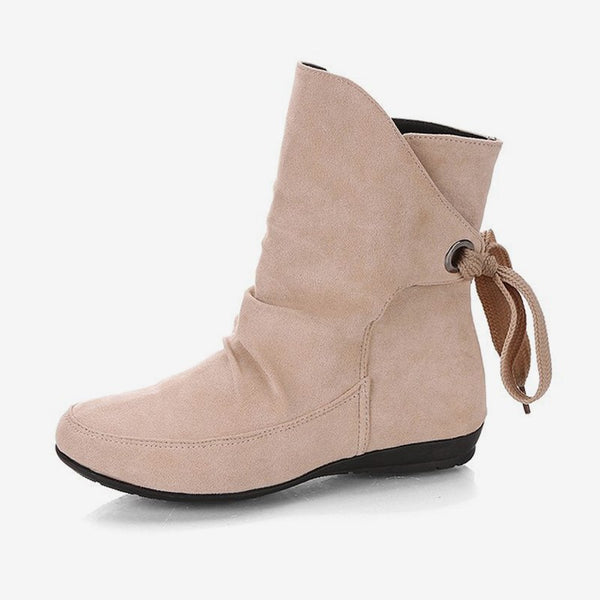 MCCKLE Plus Size Autumn Women Ankle Boots Low Heel Shoes Lace Up Casual Slip On Short Botas