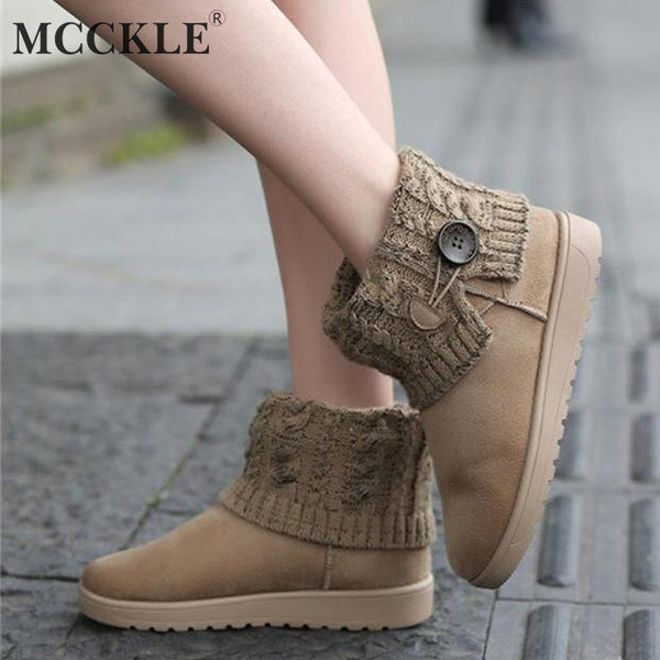 MCCKLE Plus Size Women Knitting Button Ankle Snow Boots Winter Warm Low Heels Flat Platform Fur