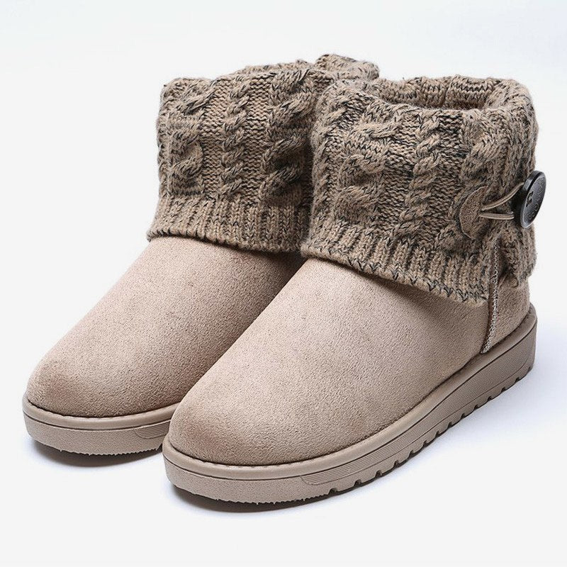 MCCKLE Plus Size Women Knitting Button Ankle Snow Boots Winter Warm ... 20b70c56bd