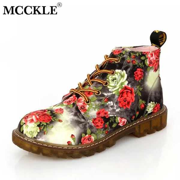 MCCKLE Printing Autumn Ankle Boots Fashion Flower Platform Women Shoes Casual Lace Up Boot Sewing