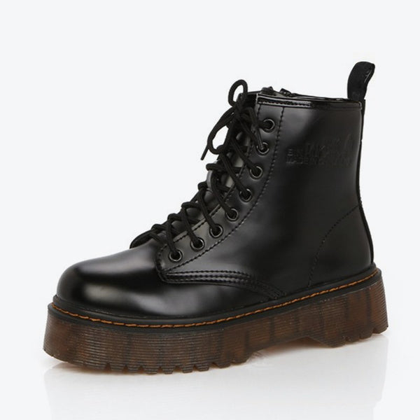 MCCKLE Woman Boots Autumn Platform Lace Up Low Heel Shoes Anti Skid Female Casual School Short Boot