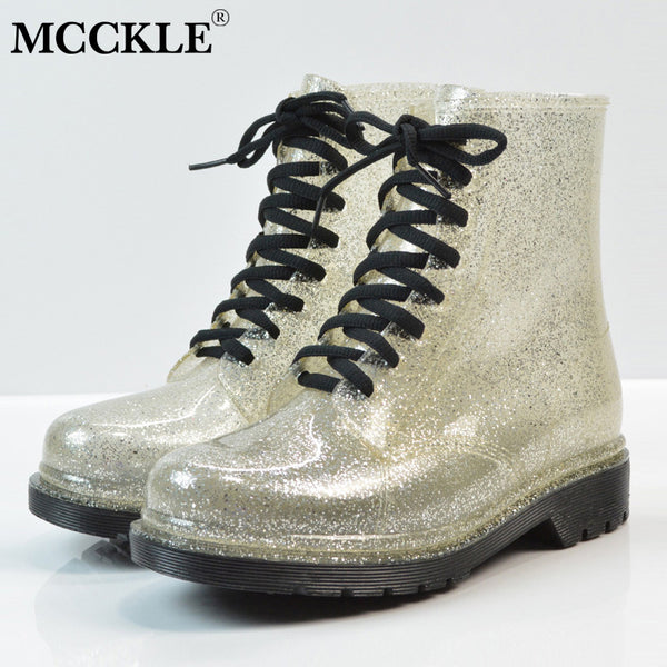 MCCKLE Women Ankle Boots Autumn Glitter Short Boot For Female Lace Up Platform Low Heel Shoes