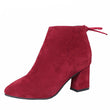 MCCKLE Women Ankle Boots Autumn High Heels Faux Suede Plus Size Short Boot Zipper Chunky Thick Heel