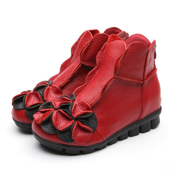 MCCKLE Women Ankle Boots Plus Size Genuine Leather Wedges Shoes Increasing Vintage Flower Short