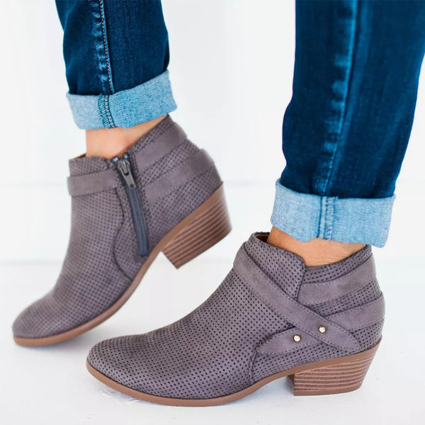 MCCKLE Women Ankle Boots Plus Size Plaform Chunky Heel Shoes For Female Zipper Strap Wood Low Heels