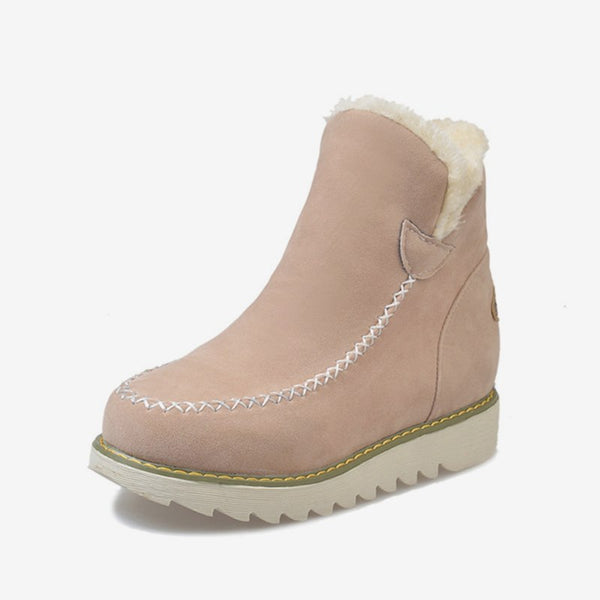 MCCKLE Women Ankle Boots Winter Warm Wedges Shoes Platform Plus Size Snow Boot For Female Slip On