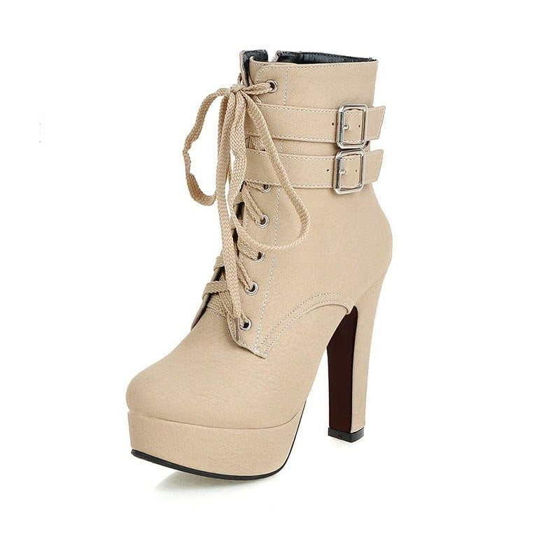 MCCKLE Women Fashion High Heels Lace Up Ankle Boots Female Zip Double  Buckle Sexy Party Dress Pump