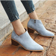 MCCKLE Women High Heels Plus Size Concise Thick Block Heel Shoes Woman Fashion Zipr Ankle boots