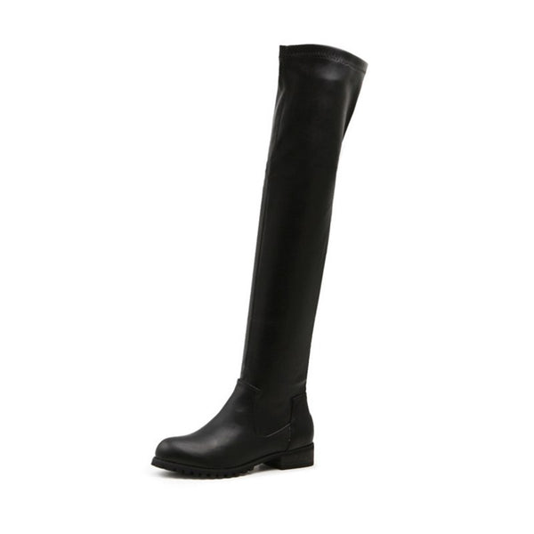 MCCKLE Women Over The Knee Boots Slip On Casual Low Heel Shoes Knee High Boot For Female Autumn