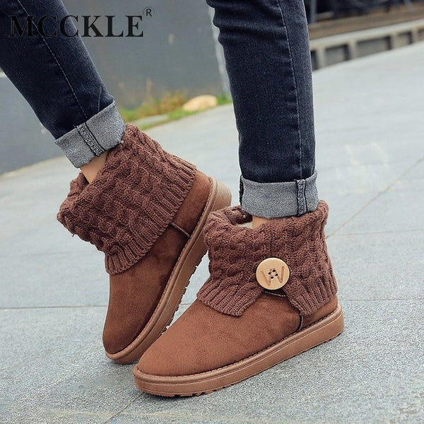 MCCKLE Women Winter Casual Platform Flat Snow Boots Female Suede knitting Wool Slip On Button Thick