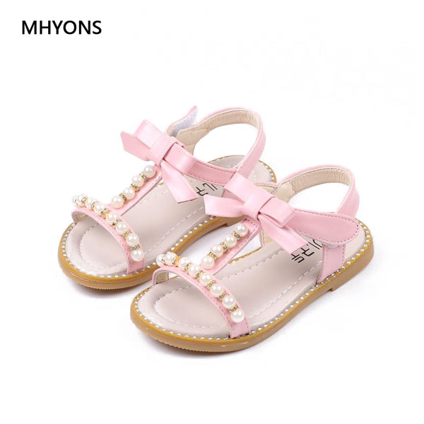 MHYONS 2018 Children Sandals For Girls School Shoes Pearl Beading Pink flat Shoes Gladiator Roman Sandals Girls Kids Female Shoe