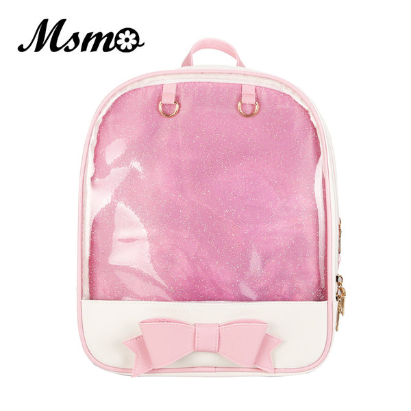 MSMO Kawaii Transparent Heart Window Lolita Student School Bag Backpack Candy Color Lovely Ita Bag