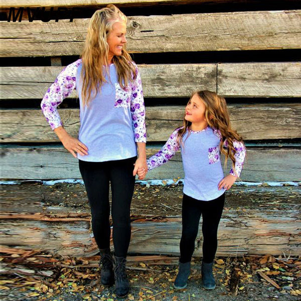 MVUPP 2018 Mommy and me T-Shirts 8 colour Europe and America style family matching outfits mum mom mother & kids & girl & Baby
