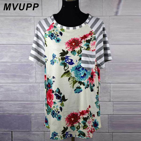 MVUPP Mother daughter dresses Mommy and me T-shirt Family clothing Chrysanthemum print T-shirt pocket Patchwork mother and kids
