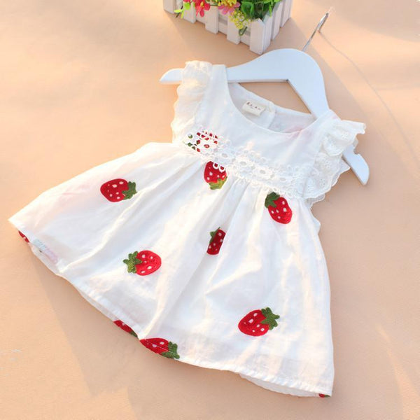 MXTOPPY Baby Girls Dress Summer Embroidery Flower Strawberry Cotton Baby Dress Newborn Baby Princess Birthday Dress For Girls