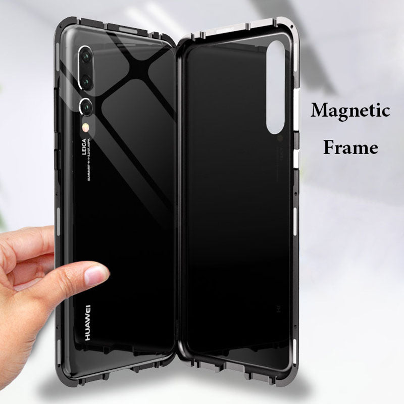the best attitude 1f428 6c437 Magnetic Adsorption For Huawei P20 Pro Case 9H Tempered Glass + Built-in  Magnet Case for For Huawei P20 Metal Ultra Cover