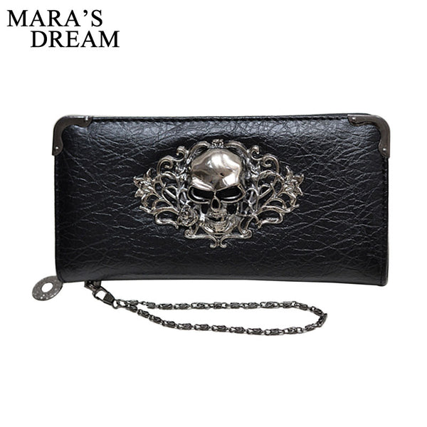 Mara's Dream 2018 Long Wallets Fashion Metal Skull Pattern PU Leather  Women Wallets Portable Casual Lady Cash Purse Card Holder