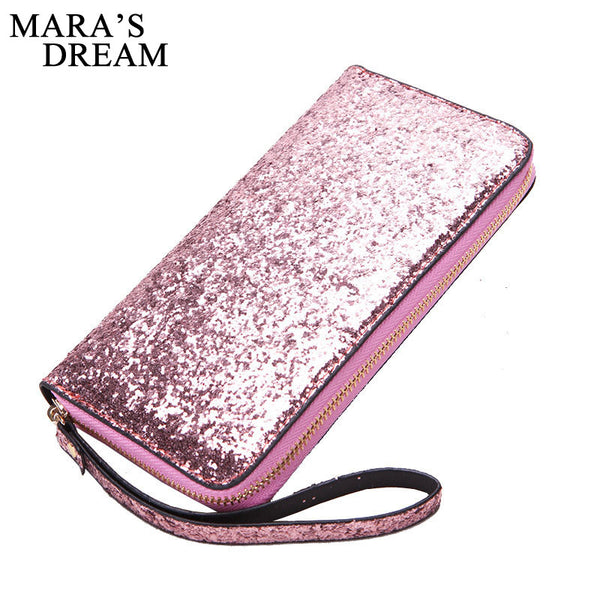 Mara's Dream 2018 Women Wallet PU Leather Wallet Women Long Glitter Sequin Wallets New Money Purse Solid Color Credit Card Bags
