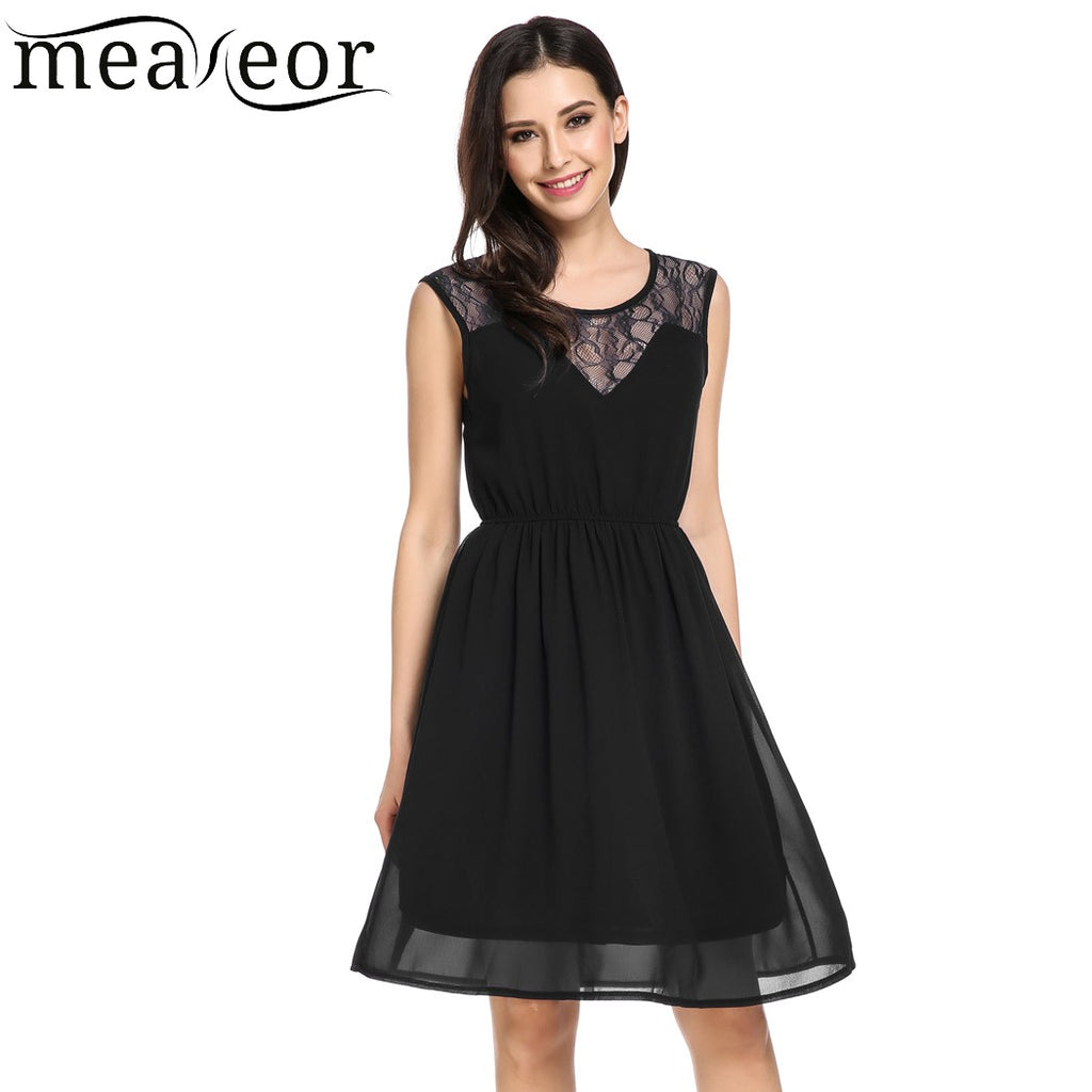 b8883652e8eb Meaneor Women Casual Sleeveless Solid Floral Lace Chiffon Fashion Pleated Dress  2018 Spring Summer New Ladies Femme Party Dress – Beal | Daily Deals For ...