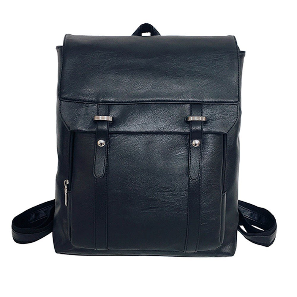 8d36f656cf7b Men Women PU Leather Backpacks Vintage England Unisex Backpack ...