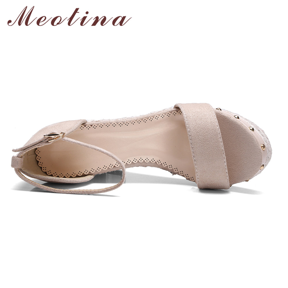 dde6313a0b2e69 Meotina Women Sandals Summer 2018 Platform Sandals High Heels Shoes Ankle  Strap Ladies Sandals Rivet Casual Footwear Pink Black – Beal