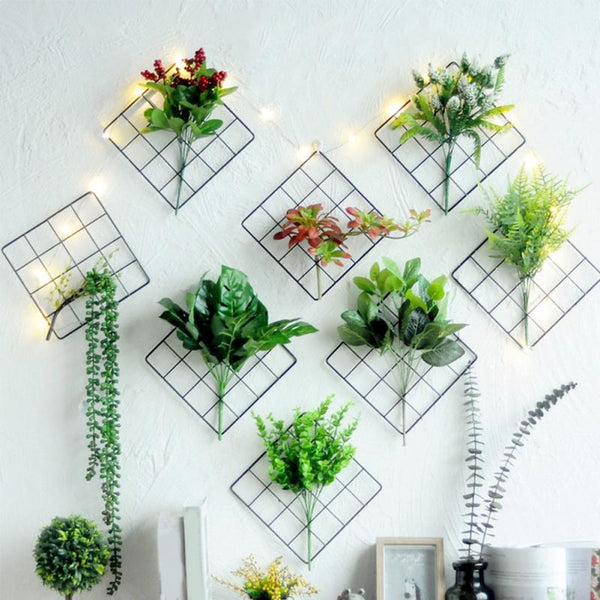 Metal Grids Wall Hanging Photos Grids Flowers Plants Iron Storage Rack Holder DIY Home Dorm