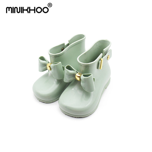 Mini Melissa 2018 New Cute Girls Bow Rain Boots Shoes Baby Boys Jelly Shoes Boots Mini Melissa KIDS Anti Skid Water Shoes Boots