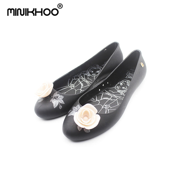 Mini Melissa 3Color Beauty and Beast Rose Flowers Women Jelly Sandals 2018 Women Sandals Melissa Jelly Shoes High Quality