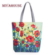 Miyahouse Floral Printed Canvas Tote Female Single Shopping Bags Large Capacity Women Canvas Beach