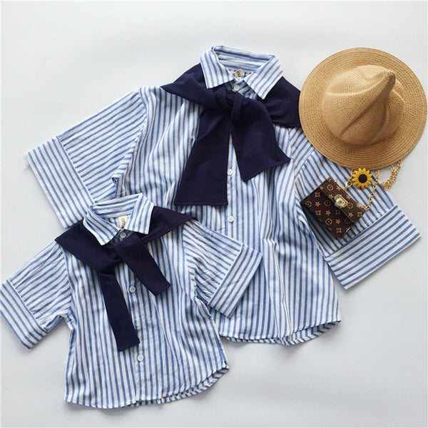 Mom Mother and Daughter Matching Clothes Cotton Linen T Shirt Navy Collar Blue Striped Shirt Dress with Big Bows School Blouse