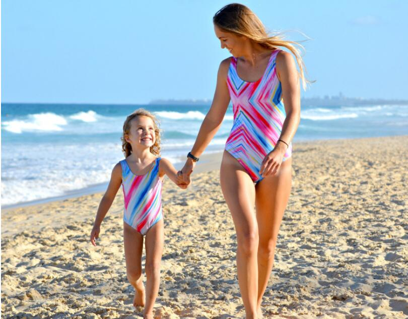 b9320801c6d23 Mom daughter Swimming Suit Floral Bikini Swim Wear Mom Kids One-piece –  Beal | Daily Deals For Moms