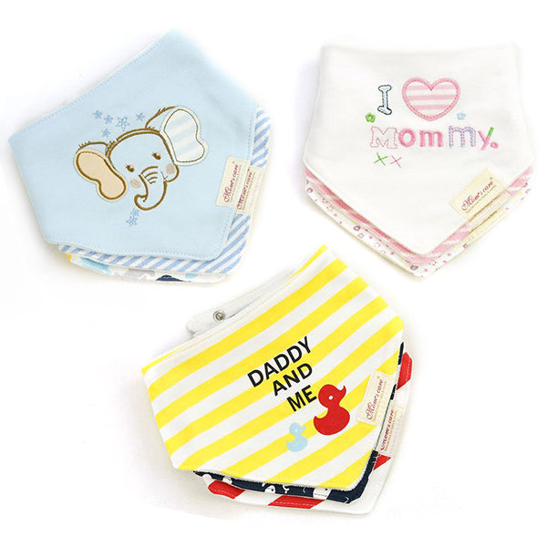 [Mom's Care] 3Pcs/Lot Kids Cute Printing Soft Bandana Newborn Toddler Baby Cotton Bibs Infant Feeding Baby Accessories