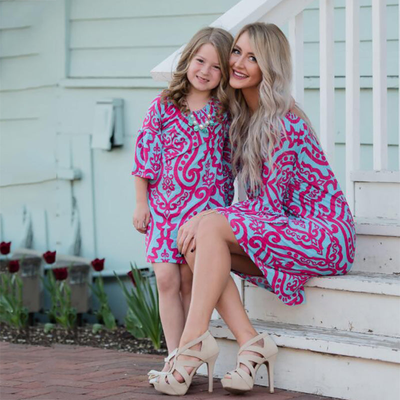 cd06aa4327 Mommy And Me Family Matching Outfits Mother Daughter Floral Dresses Clothes  Mom Girls Kids Parent Children Fashion Dress