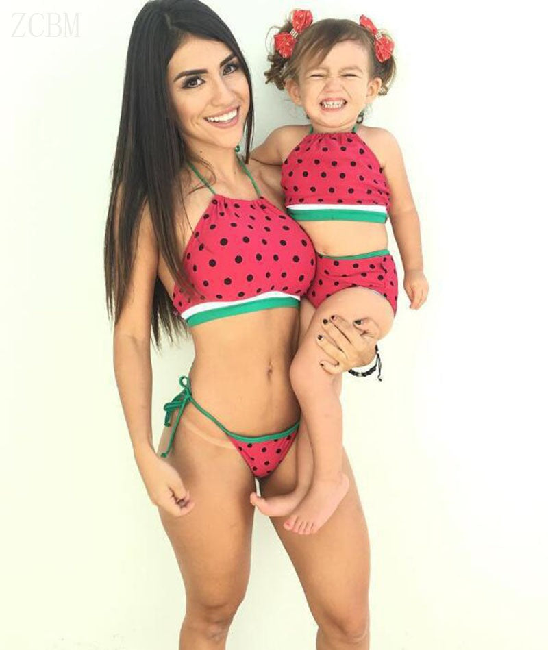b9db1aaf9ecfa Mother And Daughter Watermelon Swimsuits 2018 Family Matching Clothes –  Beal