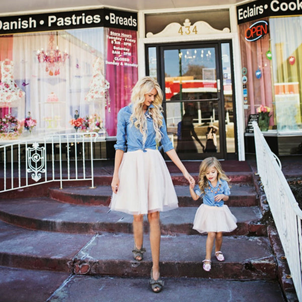 Mother Daughter Dresses Set Summer Family Clothing Jeans Coat with Dresses Set Family Matching Outfits Dress for Kids and Women
