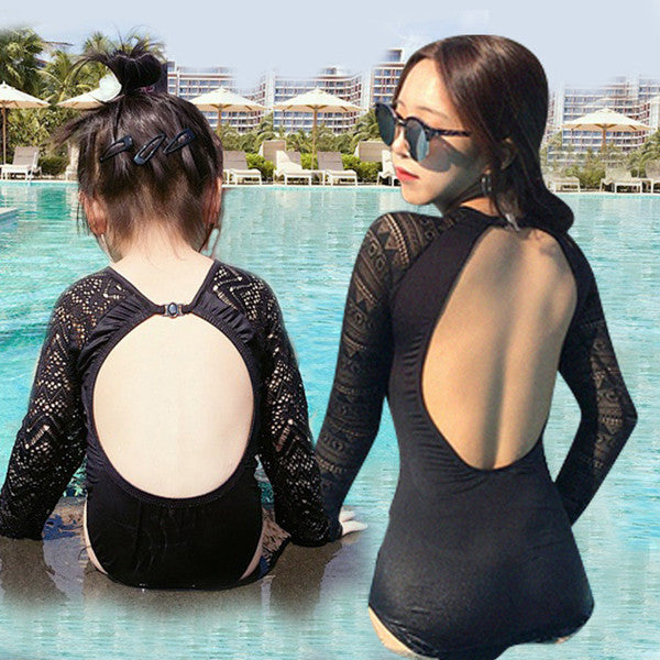 e4b37a6202 Mother Daughter Family Swimsuit Long Sleeve Sexy Lace Bikini Family Look  Summer Beach Swimwear Bodysuit H0081
