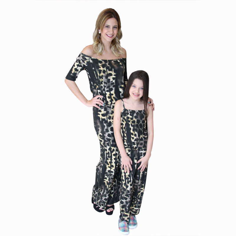543c6993d Mother Daughter Matching Clothes Fashion Leopard Print Rompers Mom ...