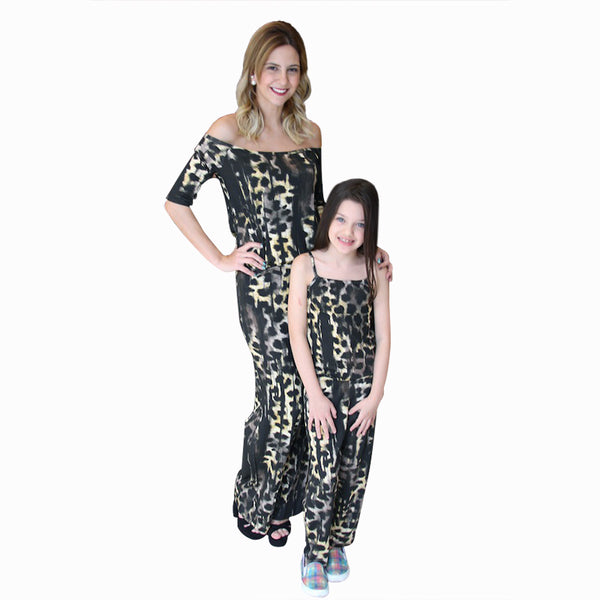 Mother Daughter Matching Clothes Fashion Leopard Print Rompers Mom Sexy Off Shoulder And Girls Sling Jumpsuit Family Outfits