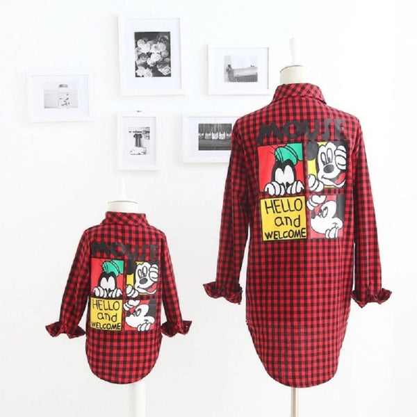 Mother Son Outfits Mom and Daughter Matching Clothes Mum Girls Vestidos Summer Family Mouse Dress Kids Plaid T Shirt Clothing