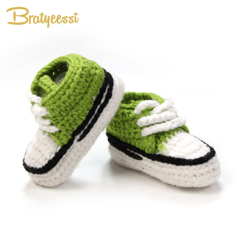65d444c4e Multicolor Knitted Baby Crib Shoes Handmade Infant Crochet Booties Lac –  Beal