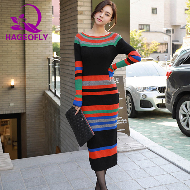 ece8c84c1e1 Multicolor Striped Sweater Dress Autumn Winter 2018 New Long Sleeve Bodycon  Dresses Ladies Mid-Calf Knitted Sweater Dress Women – Beal