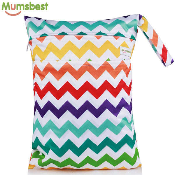 [Mumsbest] 1PC New Water Resistant Printed PUL Large Wet Bag Cloth Handle Reusable Double 2 Pockets
