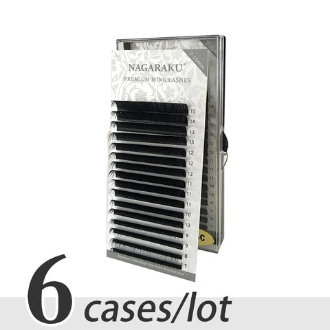 NAGARAKU 6 cases set,7~15mm MIX ,16rows/tray mink eyelash extension,natural eyelashes,individual
