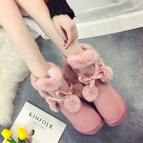 NEW Warm Fur Women Snow Boots Cute Suede Winter Shoes Fur Ball Mid-Calf Boots Female Fashion