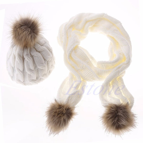 NEW Winter Warm Women Fashion knitted Scarf and Hat Set Crochet Cap Beanie Ski Hat