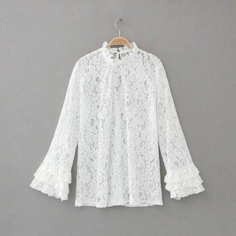 Blouse Women Long Flare Ruffle Sleeve Embroidery Lace Shirts Ladies
