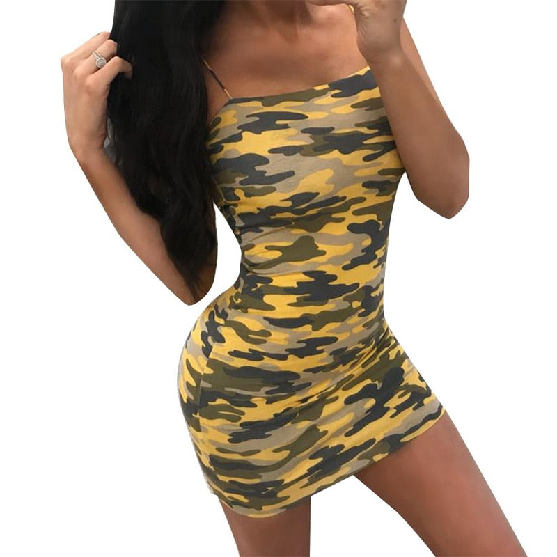 Camouflage Plus Size Sexy Dress 2018 Summer Off Shoulder Mini Party Beach  Dress Backless