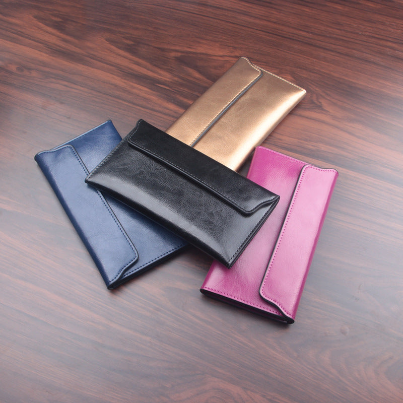 2a251822d1e8 NIGEDU Brand Genuine Leather Women Wallet Long thin Purse Cowhide multiple  Cards Holder Clutch bag