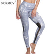 NORMOV Fashion Push Up Printed Mesh Leggings Women Plus Size Workout Leggings Sexy Activewear Polyester Leggings S-3XL 4 Colors