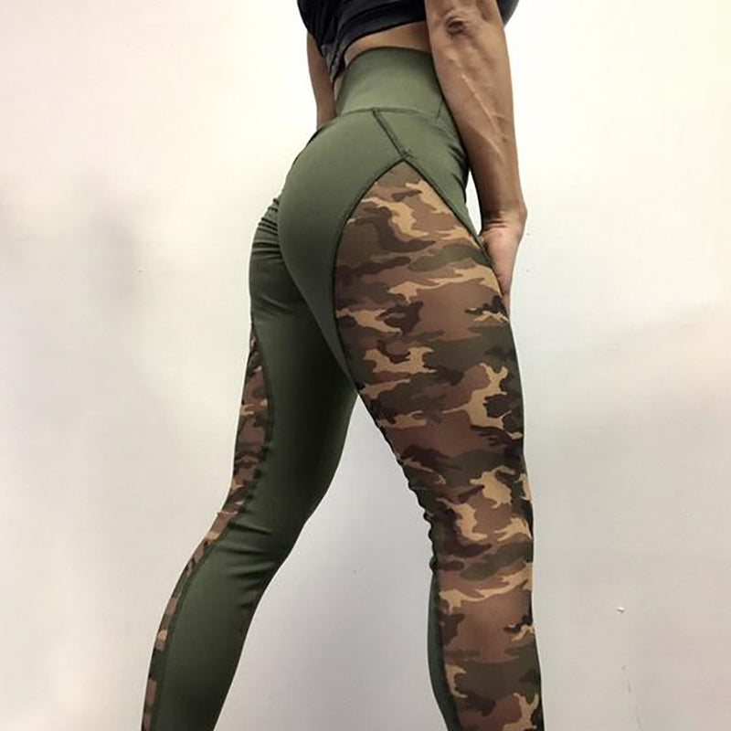 92fbee6ce22f68 NORMOV Patchwork High Waist Leggings Women Casual Camo Printed ...
